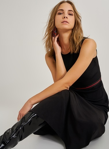 People By Fabrika Beli Lastikli Elbise Siyah